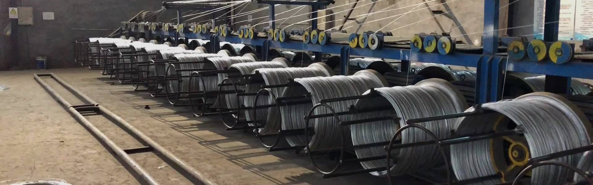 A production line of redrawing galvanized wire.