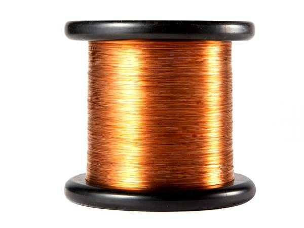 A roll of copper scourer wire on white background.