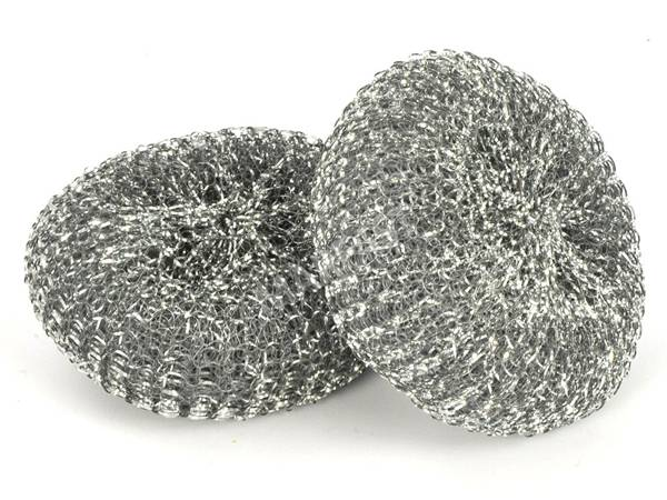 Two pieces of galvanized scourers on white background.