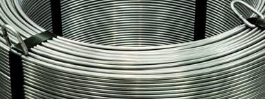 A big coil of galvanized steel wires.