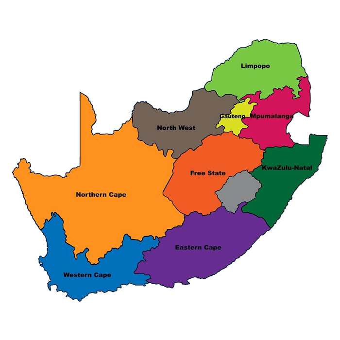 A South Africa Map on white background.