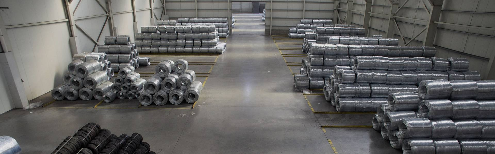 Several different materials of steel wires in the warehouse.