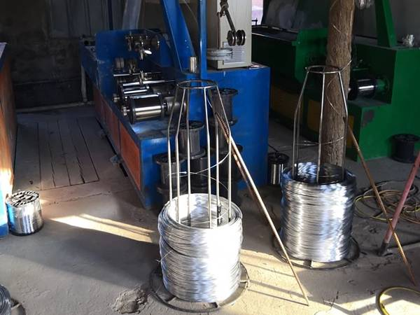A production line of scourer wire.